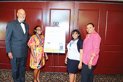 (From left) Joe Jones (Chair of the Education Committee of 100 Black Men of Las Vegas), Abrielle Abott-Williams, Jana Burd and Lillian McMorris (Public Information Officer of 100 Black Men of Las Vegas).