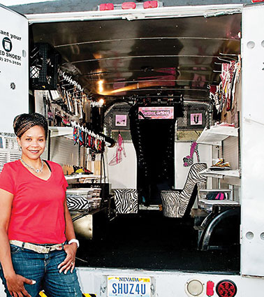 """Angelique Daniels' mobile business """"The Shoe Chick,"""" specializes in resale shoes, purses and accessories."""